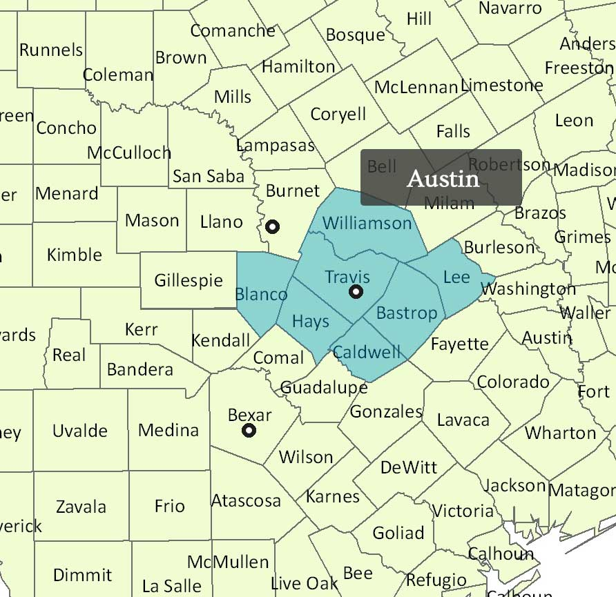 Contact Us Texas Capitol Home Health - Map of central texas